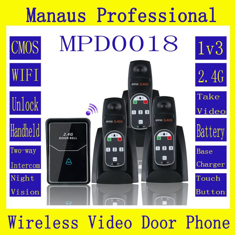 New High Quality 2.4G Digital Wireless Intercom System Door Bell wireless remote unlock 3 Indoor D18b(China (Mainland))