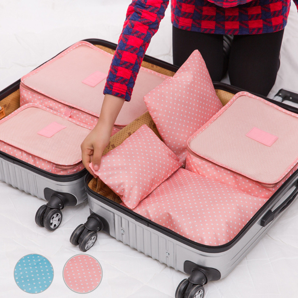 6pcs/set New 2016 Storage Bags Brand Travelling Suitcase Storage Bags Sets High Quality nylon+polyester Clothes&shoes Organizer(China (Mainland))
