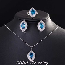 2017 CWW Brand Fashion Light Blue Created Sapphire Cubic Zirconia Crystal 925 Sterling Silver Jewelry Sets For Women T190(China (Mainland))