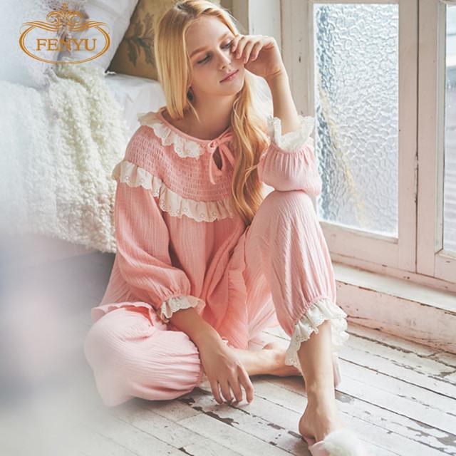 Бесплатная доставка принцесса женская розовый и белый пижамы шнурка украшения домой ...