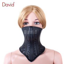 David Dog Pig Slave Black Leather Shut Up Gear Adjustable Straps Buckle Belt Chin Lock Mouth Mask Bondage BDSM Kinky Sex Product