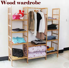The large space wardrobe, clothing display rack, clothes rack, wood furniture,clothes wardrobe,wardrobe steelframe child(China (Mainland))