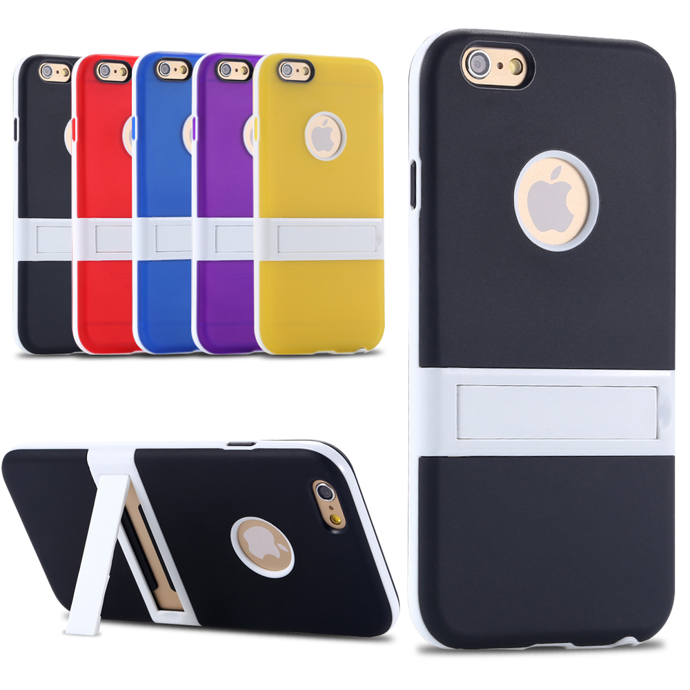 """Kickstand Phone Case For iphone 6 6S 4.7"""" & plus 5.5"""" Multi-color Matte PC Hard Bracket Stand Hybrid Cover Logo Hole for apple(China (Mainland))"""