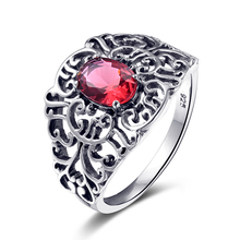 Szjinao Corazones Dulces flor 1ct Creado Rubí anillos joyas para las mujeres punk vintage estilo 925 joyas de plata de Moda regalos(China (Mainland))