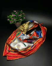 Charming Print Small Twill Silk Scarf, Women's Real Silk Square Scarves Wraps 52x52cm Accessory(China (Mainland))