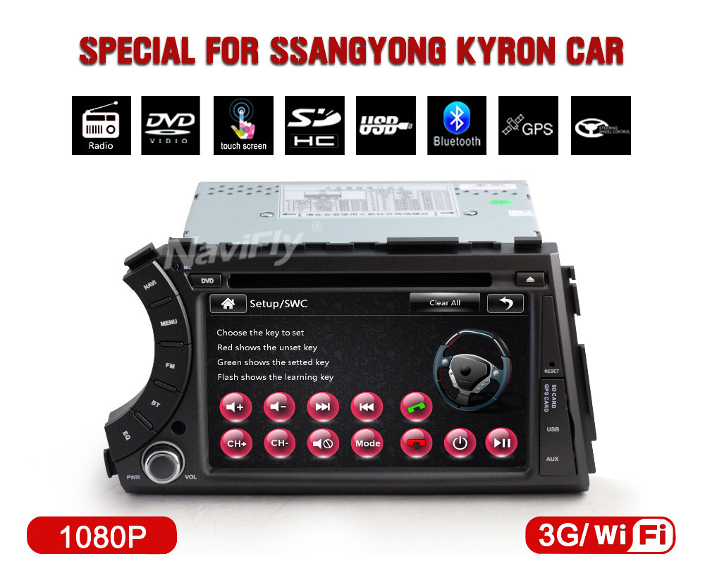 support wifi 3G 1080p video 10EQ band BT IPod radio video car multimedia/cassette player for ssangyong kyron actyon car dvd GPS(China (Mainland))