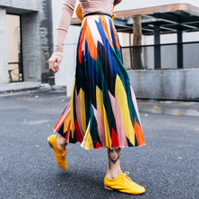 2019 Summer Cartoon Casual Elascit Waist Skirts Women Geomtric Pleated High Waist Skirts Colors(China)