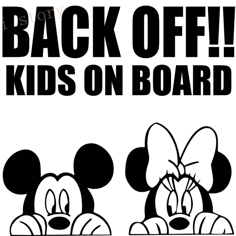 Back off kids on board car sticker mickey minnie mouse car ...