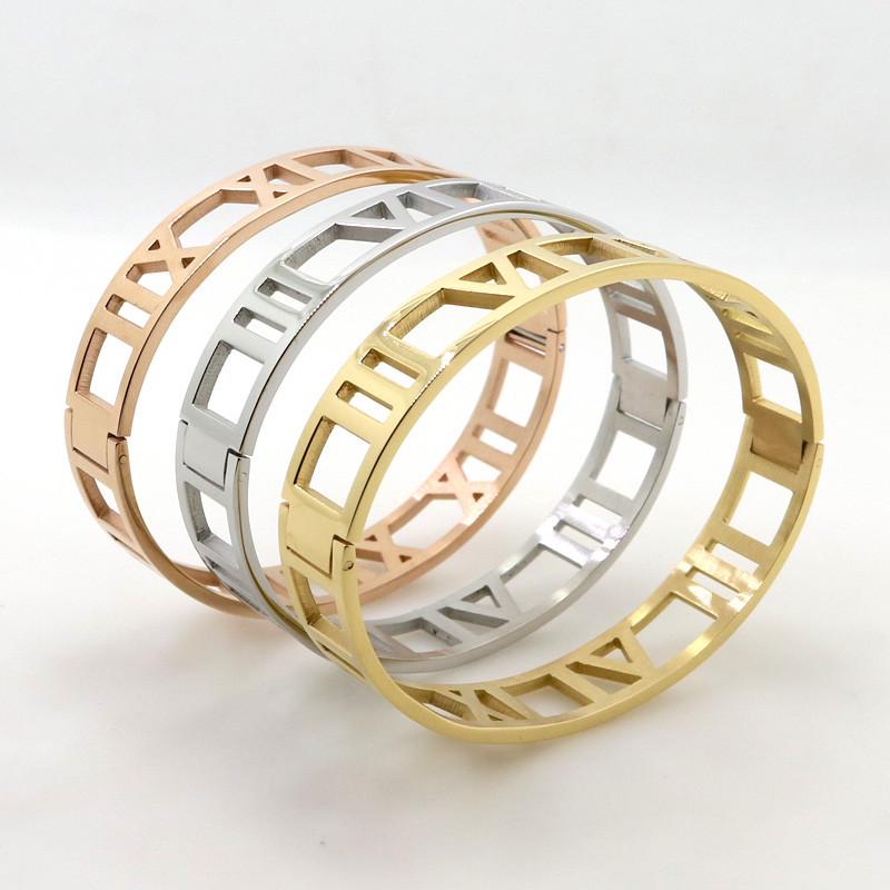 Fashion Women 12mm Width Cuff Bangles Roman Numerals Bracelets Hollow Stainless Steel & Jewelry - LOVE ZM store