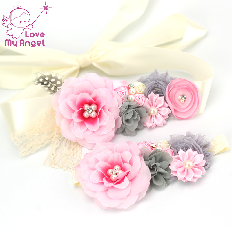 2pcs/set pink silk floral sash maternity baby photo props shabby chiffon sation flower with pearl lace sash baby shower
