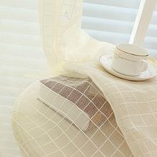 White Lattice Window Curtains For Living Room Grey Drapes Sheer Voile Pink Coffee Plaid Cotton Tulle Kitchen Curtain WP036-30(China)