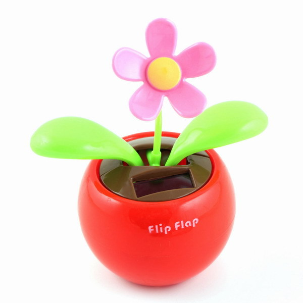Free Shipping New Solar Power Flip Flap Dancing Flower Toy For Car or Desk Gift(China (Mainland))