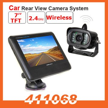 "Wireless car rearview camera with 7"" TFT LCD color Monitor and 120 degree wide view angle (D407)(China (Mainland))"