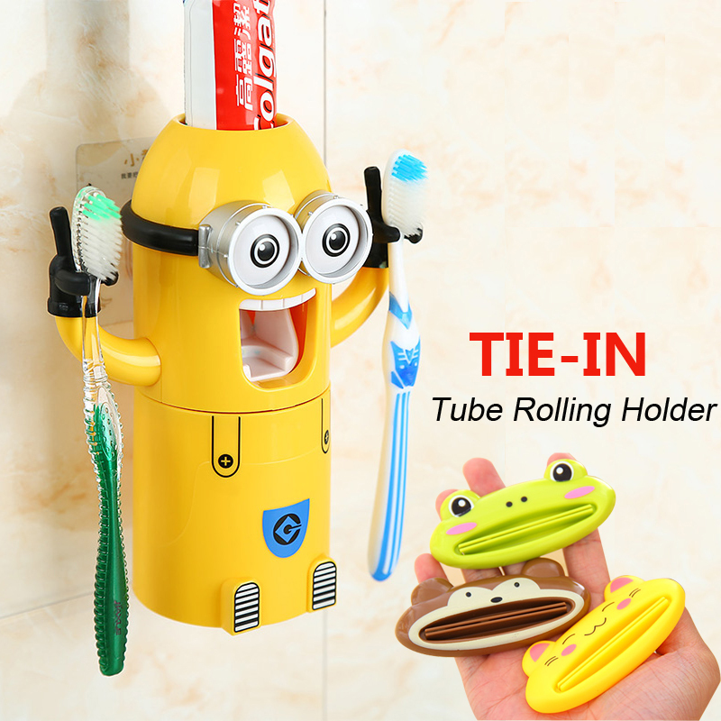 2015 New Minions Style Automatic Toothpaste Dispenser Squeezer Toothbrush Holder Cup Bathroom Household 3 in 1 Gift for children(China (Mainland))