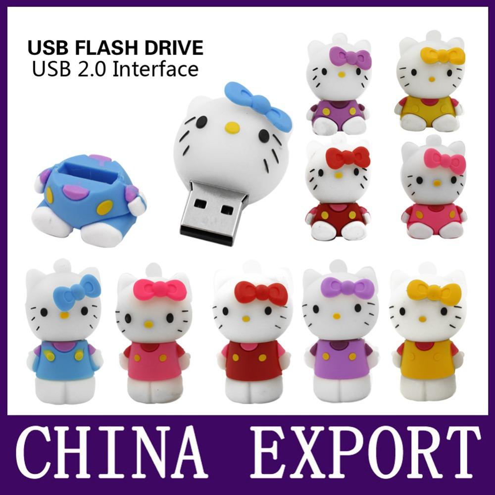 Usb Flash Drive 4GB 8GB Pendrive 16GB Pen Drive 32GB Cute Hello Kitty Cat Pink lovely Creative U disk memory Stick flash card(China (Mainland))