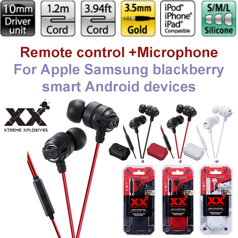 For JVC New HA-FR301 in-ear HIFI bass stereo headset for Apple Samsung blackberry Remote + Microphone Earphone with retail box(China (Mainland))