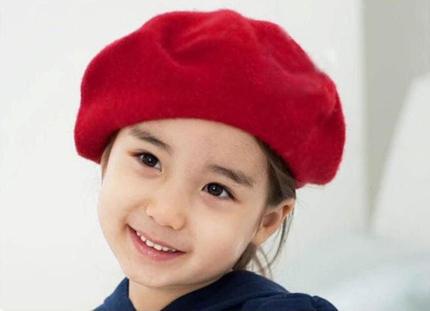 New Design 2015 new Children wool beret kids Baby girls hat The dome cap Buds hat for spring winter free drop shipping(China (Mainland))