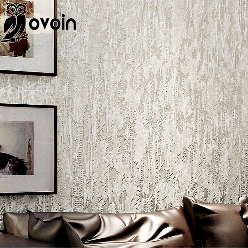 Cream White 3d Flocking Abstract Wall Paper Embossed