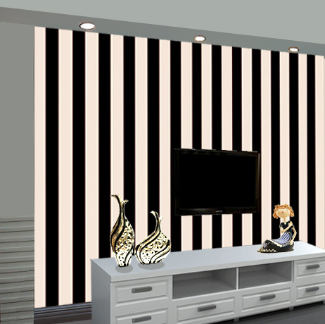 Fashion simple black and white horizontal and vertical stripes wallpaper bedroom living room tv for Black and white striped wallpaper living room