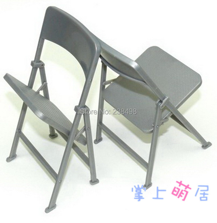 Free Shipping 1pcs chair Folding chairs foldable silver 1 6Scale Dollhouse Mi