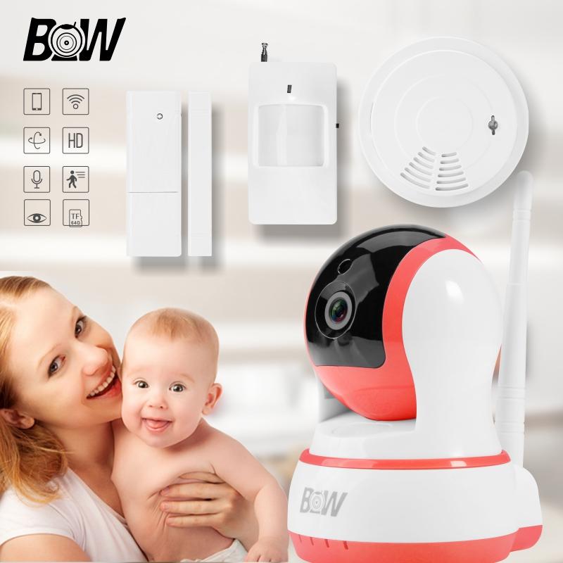 Mini Wifi IP Camera + Door Sensor /Infrared Motion Sensor /Smoke Detector Alarm System Surveillance Camera Baby Monitor BW013P(China (Mainland))
