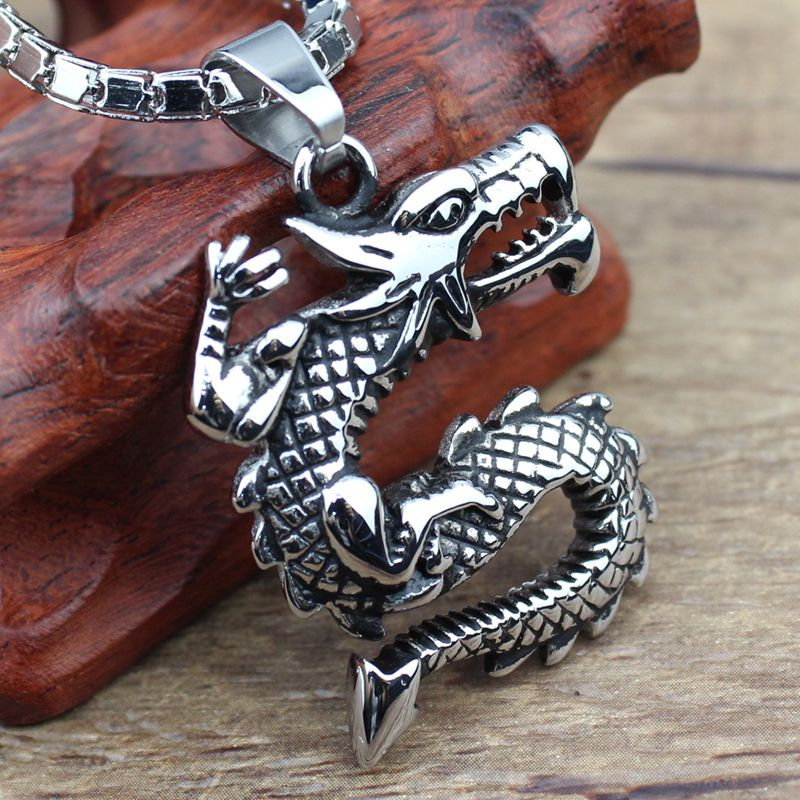 Necklace Titanium Steel Necklace Vintage Necklace Unusual Styles Dragon Jewelry Wholesale Free Shipping bugy JPN-150(China (Mainland))