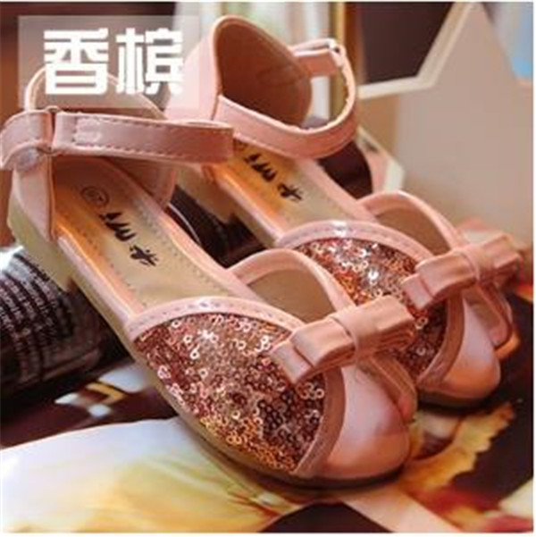 L-41 2015 New Summer kids Shoes PU glitter cute candy color fish mouth style girls sandals buckle strap soft leather shoes(China (Mainland))