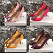 Free shipping 2015 spring Original Quality Diamond Square Buckle rv Heels Manolos Women's Wedding Party silk SATIN shoes, 34-40(China (Mainland))