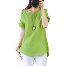 Plus size Women blouses 2016 summer linen shirt women tops short sleeve blouse femme o-neck button blusas mujer(China (Mainland))