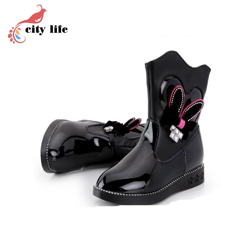 2015 Girls Winter Boots Genuine Leather Cut Fashion Boots With Zip Black Red Shoes For Kid Size 27-37<br><br>Aliexpress