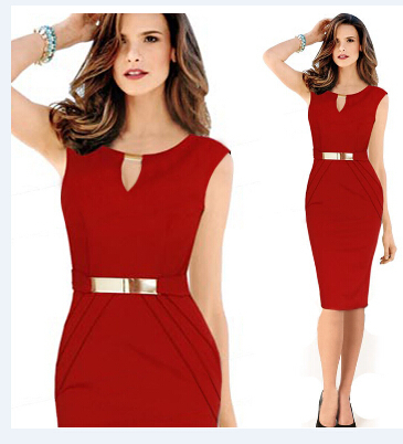 2015 new style Fashion v-neck dress red/navy color - Angle Store store