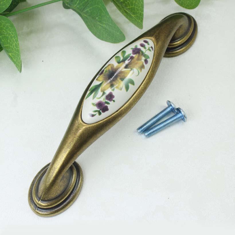 128mm rustico pastorale ceramic vintage furniture handles bronze kitchen cabinet drawer pulls 5 antique brass dresser handles<br><br>Aliexpress