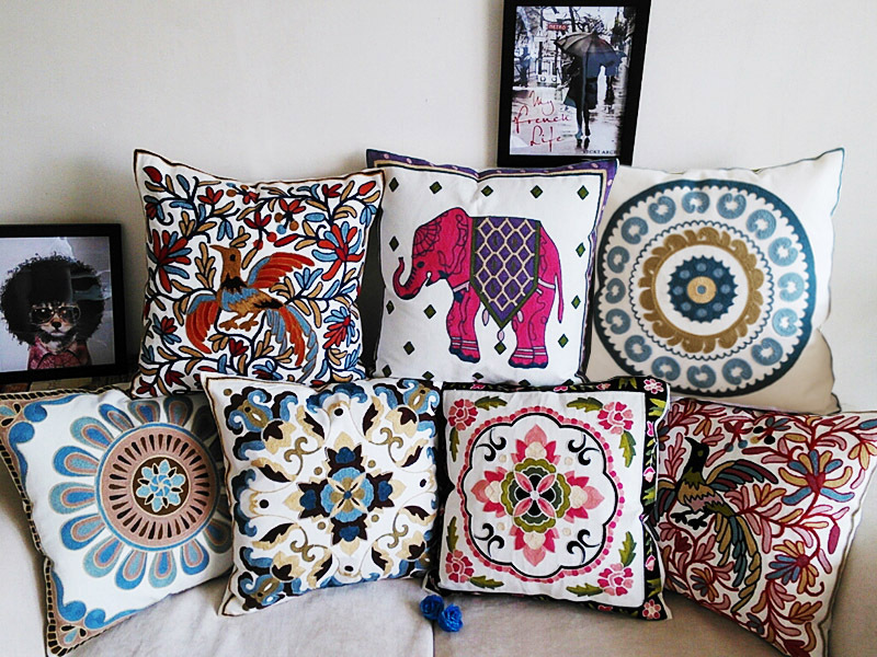 Embroidery cushion cover 100% high-grade cotton fabric pillow case embroidered Bohemian style floral elephant cushions 45x45cm(China (Mainland))