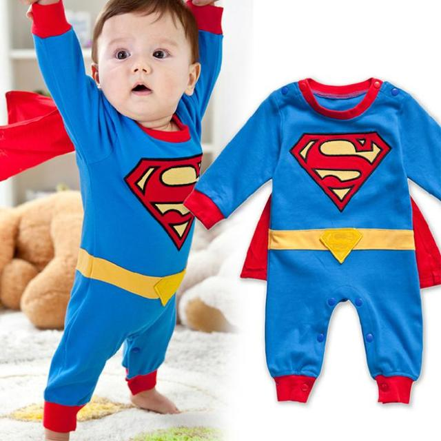 Мальчики одежда 2016 новый Супермен комбинезон с мыса повседневная с длинным рукавом ...