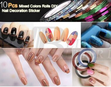 2015 New 1Mixed Colors Nail Rolls Striping Tape Line DIY Art Tips Decoration Sticker Nails Care - YKS-Ezsources Centre store