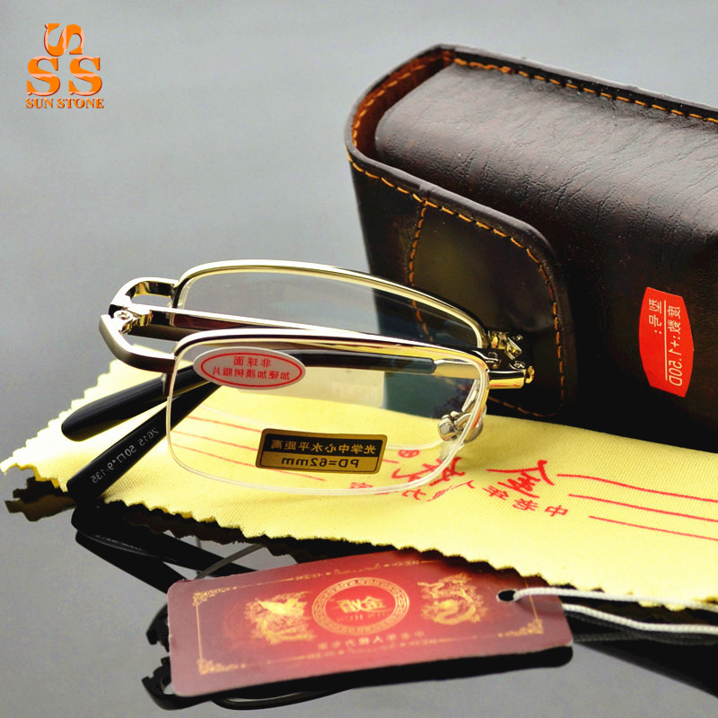Super Deals,High End Brand Resin Lens Half Frame Folding Aged Reading Glasses,Fashion Portable Oculos de Leitura & Box. G401(China (Mainland))