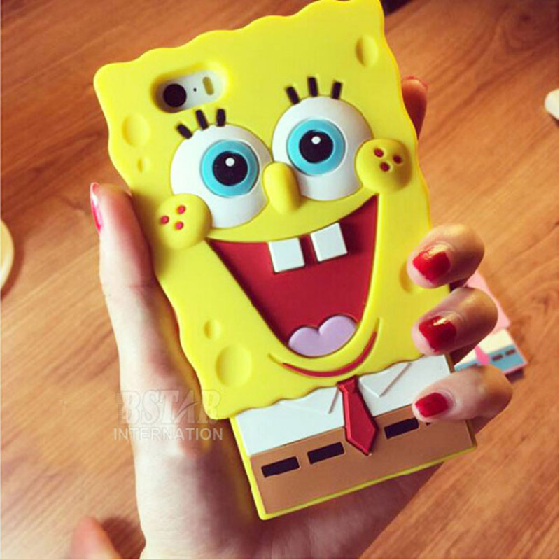 fashional 3D Cartoon SpongeBob SquarePants model design soft rubber cover case iphone 5 5s SE 6 6S - Corcossi Science & Technology CO., LTD store