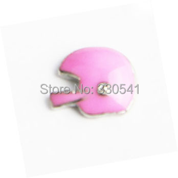 Free Shipping !good quality Pink Enamel Football Helmet Floating Charms for glass locket ! AFC1504(China (Mainland))