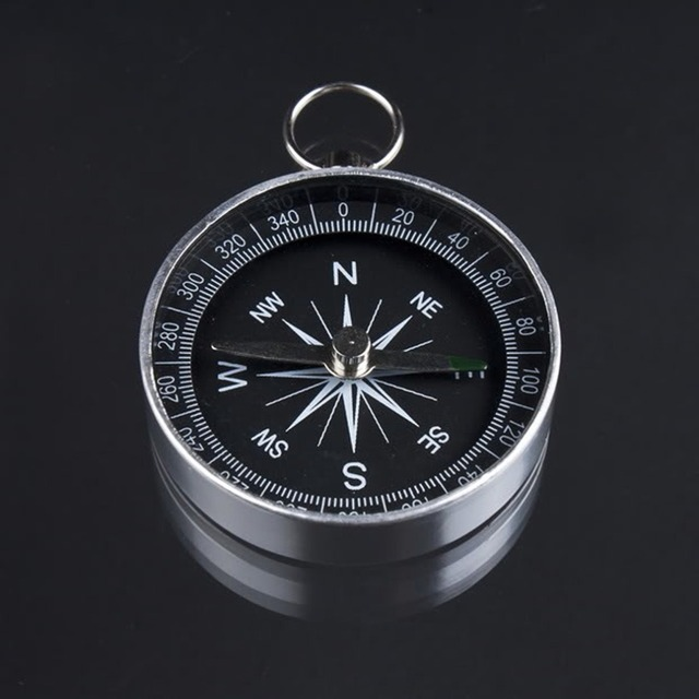 Pocket Mini Camping Hiking Compasses Lightweight Aluminum Outdoor Travel Compass Navigation Wild Survival Tool Black