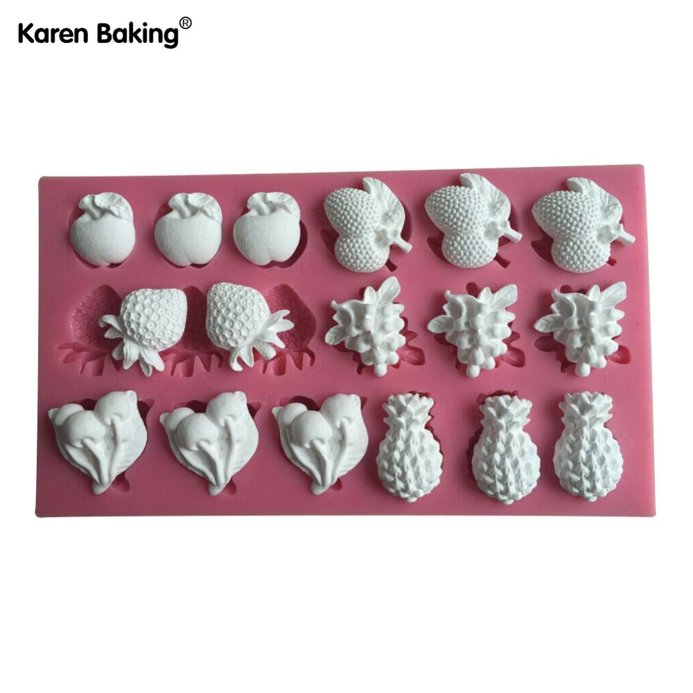 Apple, Strawberry, Grape, Pineapple, Cherry And Other Fruit Shape 3D Silicone Mold Fondant Cake Decorating Tools-C497(China (Mainland))
