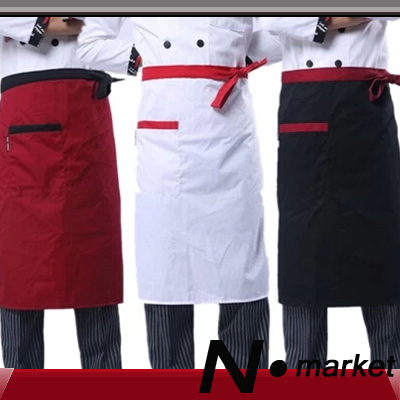 2014 New Arriavl Free Shipping Special Half White Black Red Mix Kitchener Apron Cotton Polyester Pure Chef Apron Cook(China (Mainland))