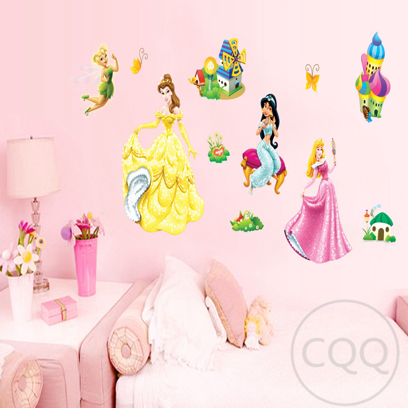 Princess wall sticker cartoon home decor fairy decal for Fairy princess mural