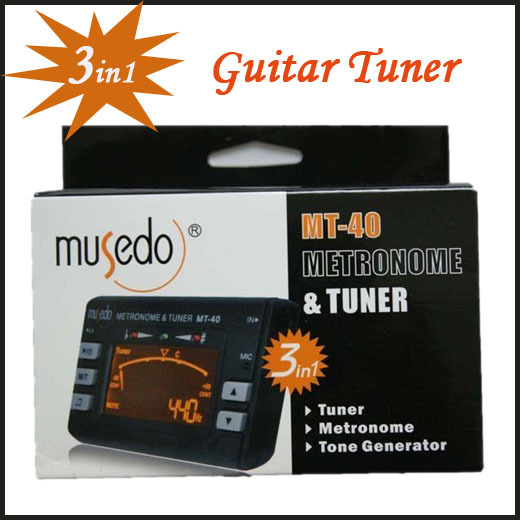 Guitar Tuner Hot Sale! Electronic Digital 3 in 1 LCD Violin Tuner Guitar Metronome Tone Generator Tuner Clip Free Shipping MT-40