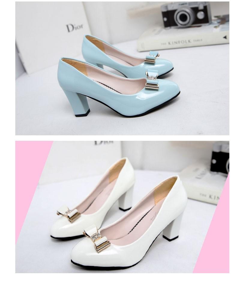 ซื้อ ฤดูใบไม้ร่วงใหม่ผู้หญิงป่าแฟชั่นรองเท้าส้นสูง,ชี้สบายPUผู้หญิงโบว์หนัง,ขนาดใหญ่ขนาดเซ็กซี่รองเท้าส้นสูงsh