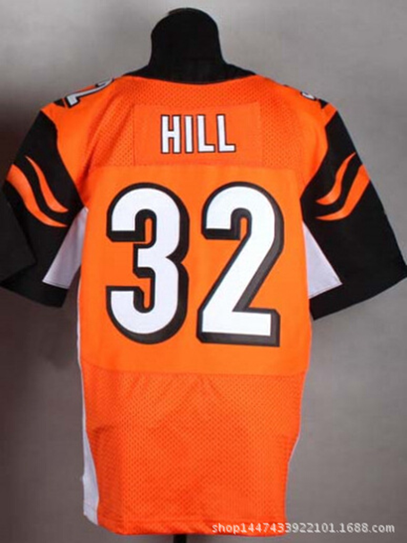 32 # HILL Elite American Football Jerseys High Quality Embroidery Football Star Jerseys Soccer Fans Uniforms Orange Black XXXL(China (Mainland))