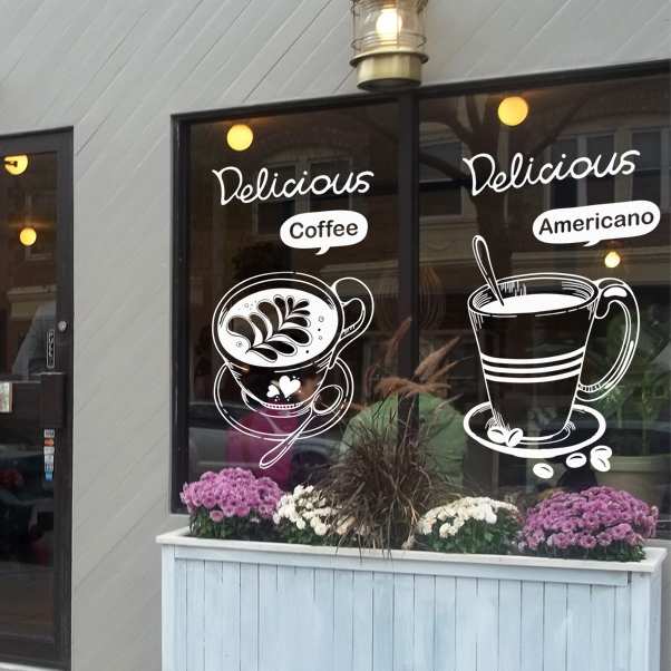 Coffee shop vinyl wall decal bakery tea americano