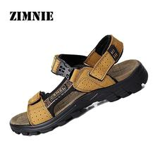 2016 Men Comfy Outdoor Sandals Slides Rubber Sole Genuine Leather Cowhide Casual Summer Beach Slippers Shoes Drop Shipping(China (Mainland))