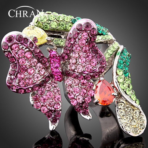 Austrian Crystal 18K Gold Plated Charm Women Jewlery Gifts Promotion Imitation Diamond Purple Butterfly Engagement Wedding Rings