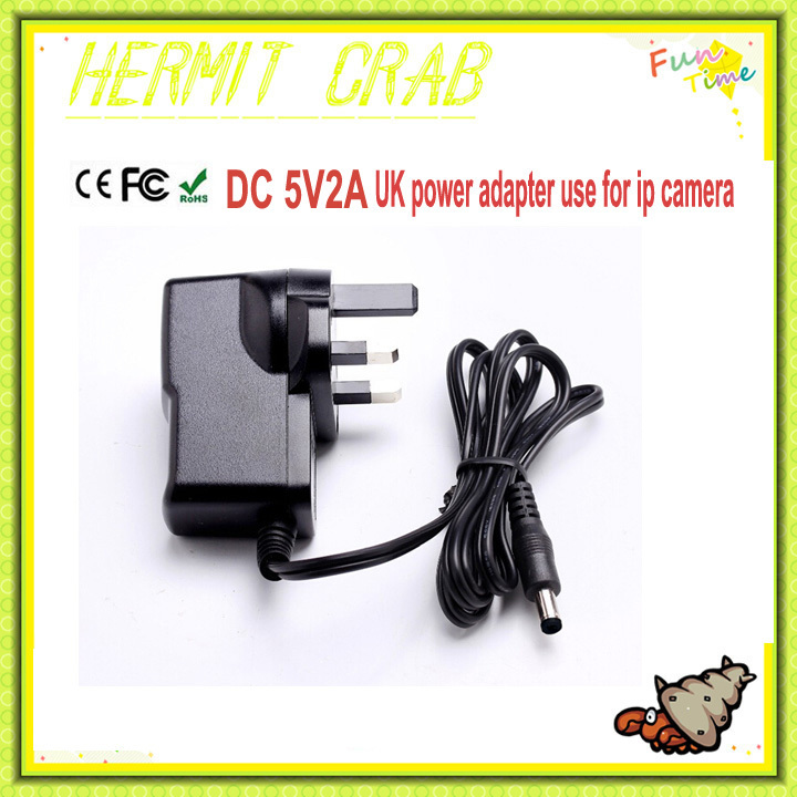 Original Certificate UK Power adapter DC 5V 2A round hole Diameter 5mm Converter Adapter Supply for IP camera and CCTV camera(China (Mainland))