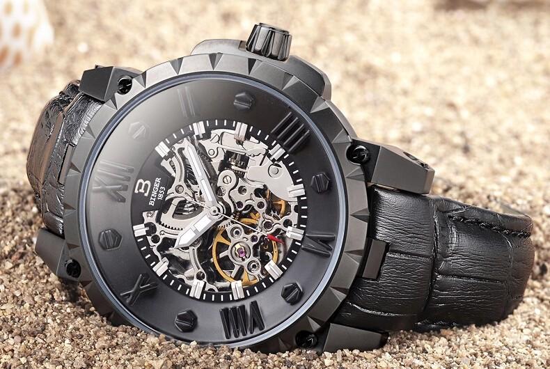 2016 Новый Бингер Мода скелет часы Круглый Механические мужские механические водонепроницаемость Назад Полые часы мужчины подарков наручные часы